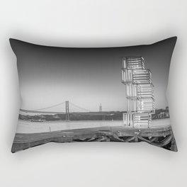 Central Tejo, Lisbon, Portugal (Black & White) Rectangular Pillow