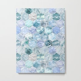 Ice Blue and Jade Stone and Marble Hexagon Tiles Metal Print
