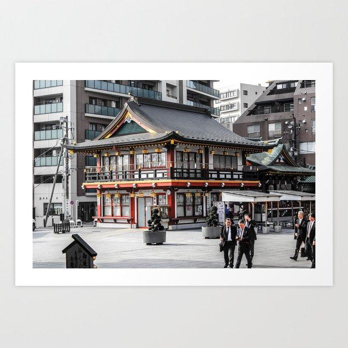 ArtWork Tokyo Japan Black Colour Red PhotoArt Art Print