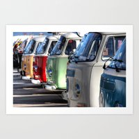 vans Art Prints featuring Hippy Vans by Barbo's Art