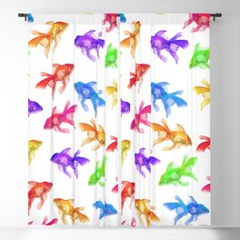 Colorful Rainbow Goldfish Pattern Blackout Curtain