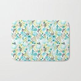 Watercolor/Ink Aqua Blue Floral Painting Bath Mat