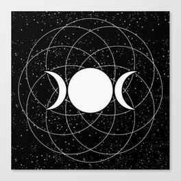 Triple Goddess Moon in Black and White Canvas Print