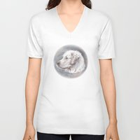 golden retriever V-neck T-shirts featuring Golden Retriever Dog Drawing by Lena Svalfors Hedin