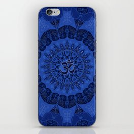 Mandala pattern yoga sign namaste navy dark blue cobalt iPhone Skin