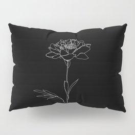 Rose line drawing - Lorna Black Pillow Sham
