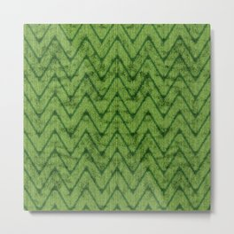 Velvety Lime Green Zigzag Chevron Pattern Metal Print