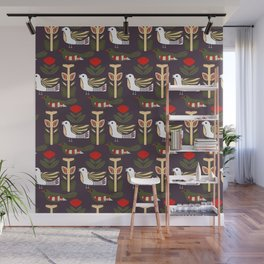 Folk art birds and flowers in a Scandinavian pattern Wall Mural