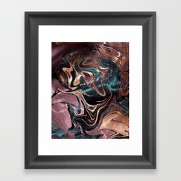 Metallic Rose Gold Marble Swirl Framed Art Print