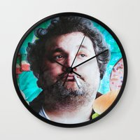 jessica lange Wall Clocks featuring Artie Lange by John Turck