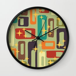 Retro Mid Century Modern Abstract Pattern 225 Wall Clock