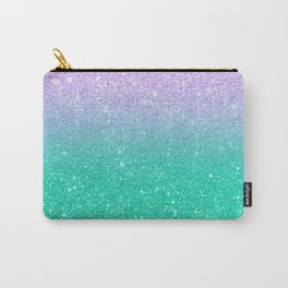 Mermaid purple teal aqua FAUX glitter ombre gradient Carry-All Pouch