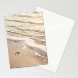 Dog Paw Prints Beach Photography, Water Ripples Photograph, Ocean Dog Lover Coastal Print Stationery Cards