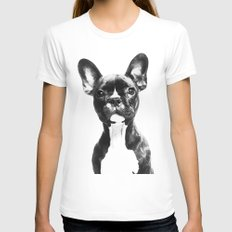 French BullDog White SMALL Womens Fitted Tee