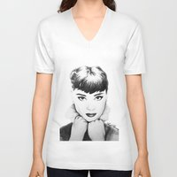 hepburn V-neck T-shirts featuring Hepburn by Aoife Rooney Art