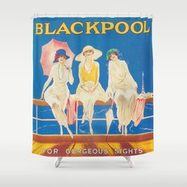 Blackpool, England Vintage Travel Poster Shower Curtain