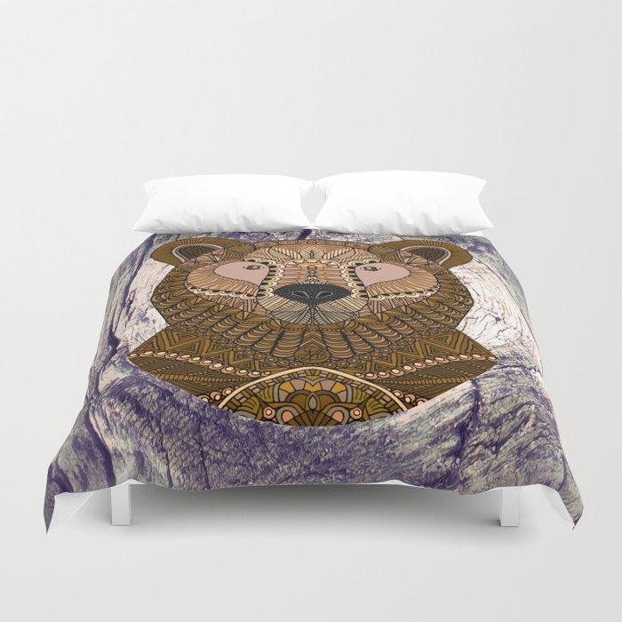 Ornate Brown Bear Duvet Cover