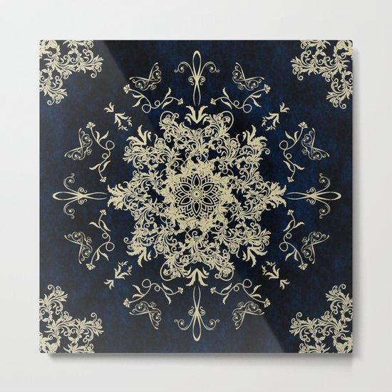Pale Gold Floral Design On A Blue Textured Background Metal Print