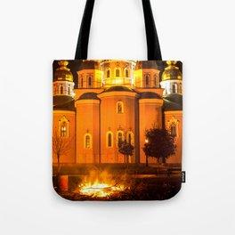 glowing church Tote Bag