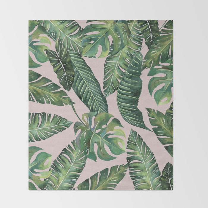 Jungle Leaves, Banana, Monstera Pink #society6 Throw Blanket