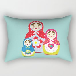 Turquoise babushka , matryoshka , russian doll , nursery decor , children gift, birthday gift Rectangular Pillow