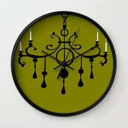 A Chandler with Candles and a Green Background Wall Clock