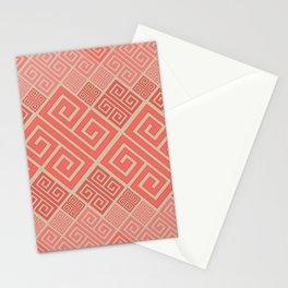 Meander Pattern - Living Coral #2 Stationery Cards