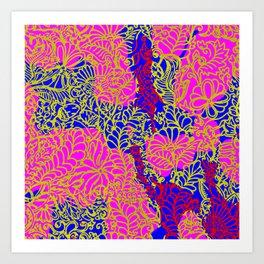 Night In the Jungle Garden, Pink Art Print