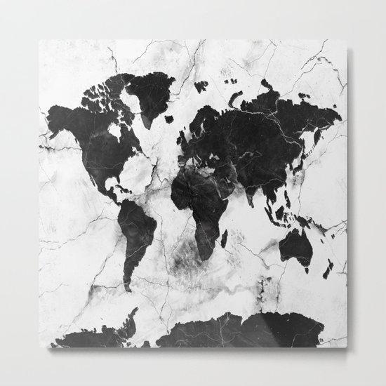 world map marble 3 Metal Print