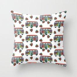 Funky Camper Van Throw Pillow