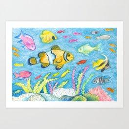 Crayon Fish #3 Art Print