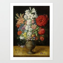 """Osias Beert """"Flowers in a German tigerware vase, with a bluebottle fly and a Red Admiral butterfly"""" Art Print"""