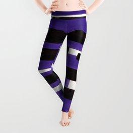 Purple Primitive Stripes Mid Century Modern Minimalist Watercolor Gouache Painting Colorful Stripes Leggings