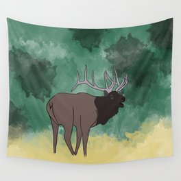 Bull Elk Bugling Wall Tapestry