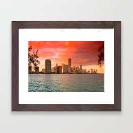 Miami Sunset Framed Art Print