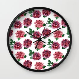Dahlias. Watercolor flowers illustration. Red floral pattern. Botanical art. Сhrysanthemum Wall Clock