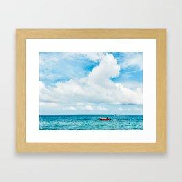 Red Boat against the Caribbean Sky Fine Art Print Framed Art Print