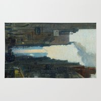 nan lawson Area & Throw Rugs featuring New York Street Scene - Ernest Lawson by BravuraMedia