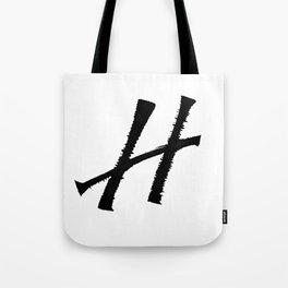 Letter H Ink Monogram Tote Bag