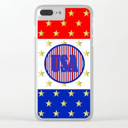USA Stars And Stripes - United States Clear iPhone Case