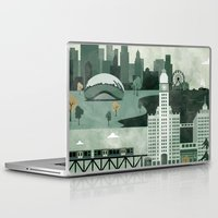 travel poster Laptop & iPad Skins featuring Chicago Travel Poster Illustration by ClaireIllustrations