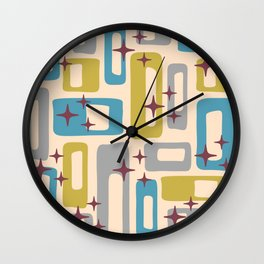 Retro Mid Century Modern Abstract Pattern 924 Turquoise Gray Olive Wall Clock