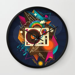 Goodtime Party Music Retro Rainbow Turntable Graphic Wall Clock