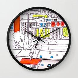 Suburb - city drawing Wall Clock