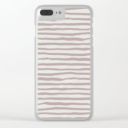 Simply Shibori Stripes Clay Pink on Lunar Gray Clear iPhone Case