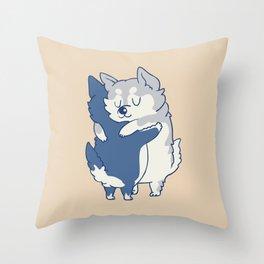 Husky Hugs Throw Pillow