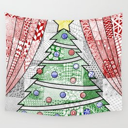 Coloured Christmas Tree Wall Tapestry