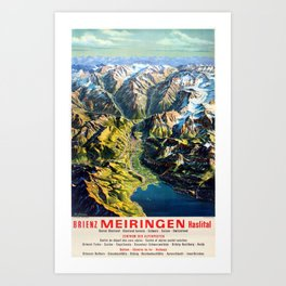altes Plakat Brienz Meiringen Haslital Switzerland Mountains Art Print