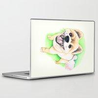 pomeranian Laptop & iPad Skins featuring Pomeranian dog  - F.I.P. - Jack-Jack by PaperTigress