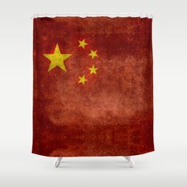 The National flag of the People's Republic of China in Vintage retro distressed texture form Shower Curtain